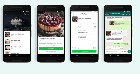 Imagen of whatsapp business example_ cake shop images